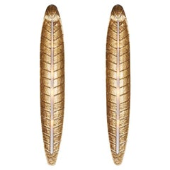 Large Gilded Palm Leaf Murano Glass Wall Lights