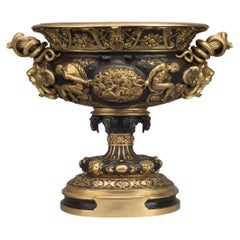 Large Gilt and Patinated Bronze Neoclassical Style Vase, French, circa 1910