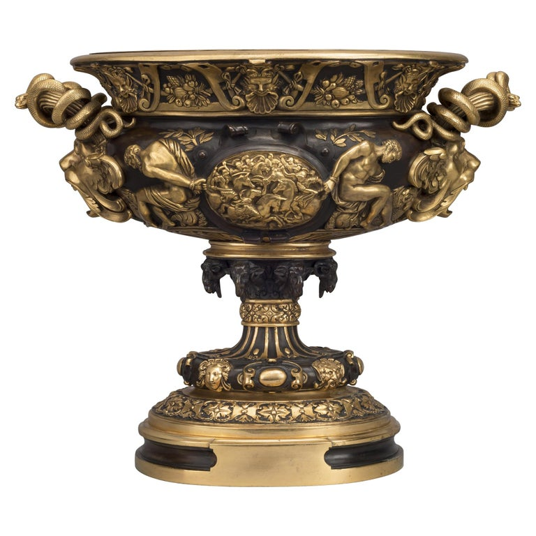 Large Gilt and Patinated Bronze Neoclassical Style Vase, French, circa 1910 For Sale
