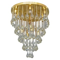 Large Gilt Brass Clear Glass Murano Drop Chandelier Flush Mount Venini Style