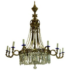 Large Gilt Bronze and Cut-Glass Regency Style Chandelier