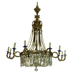 Large Gilt Bronze and Cut Glass Regency Style Chandelier