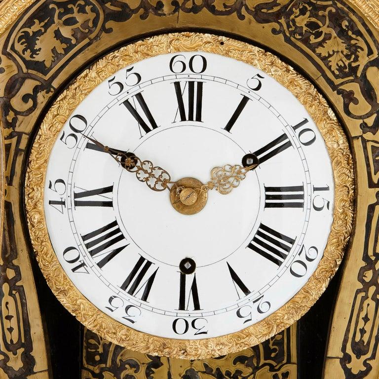 Louis XIV Large Gilt Bronze Boulle Wall Clock For Sale