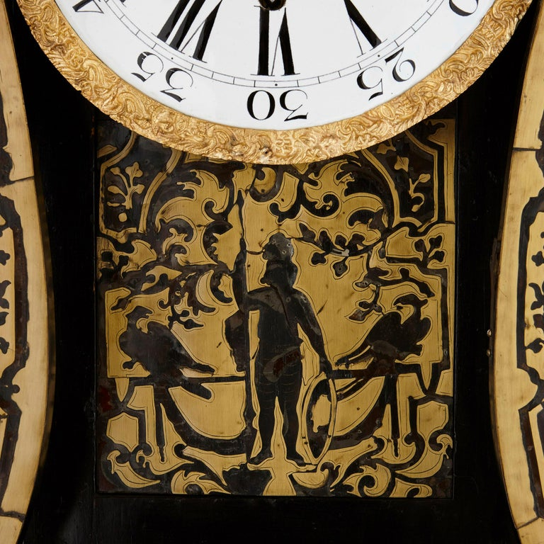 French Large Gilt Bronze Boulle Wall Clock For Sale