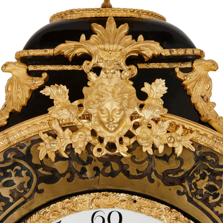 Large Gilt Bronze Boulle Wall Clock In Good Condition For Sale In London, GB
