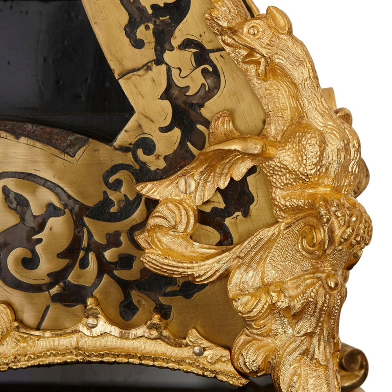 19th Century Large Gilt Bronze Boulle Wall Clock For Sale