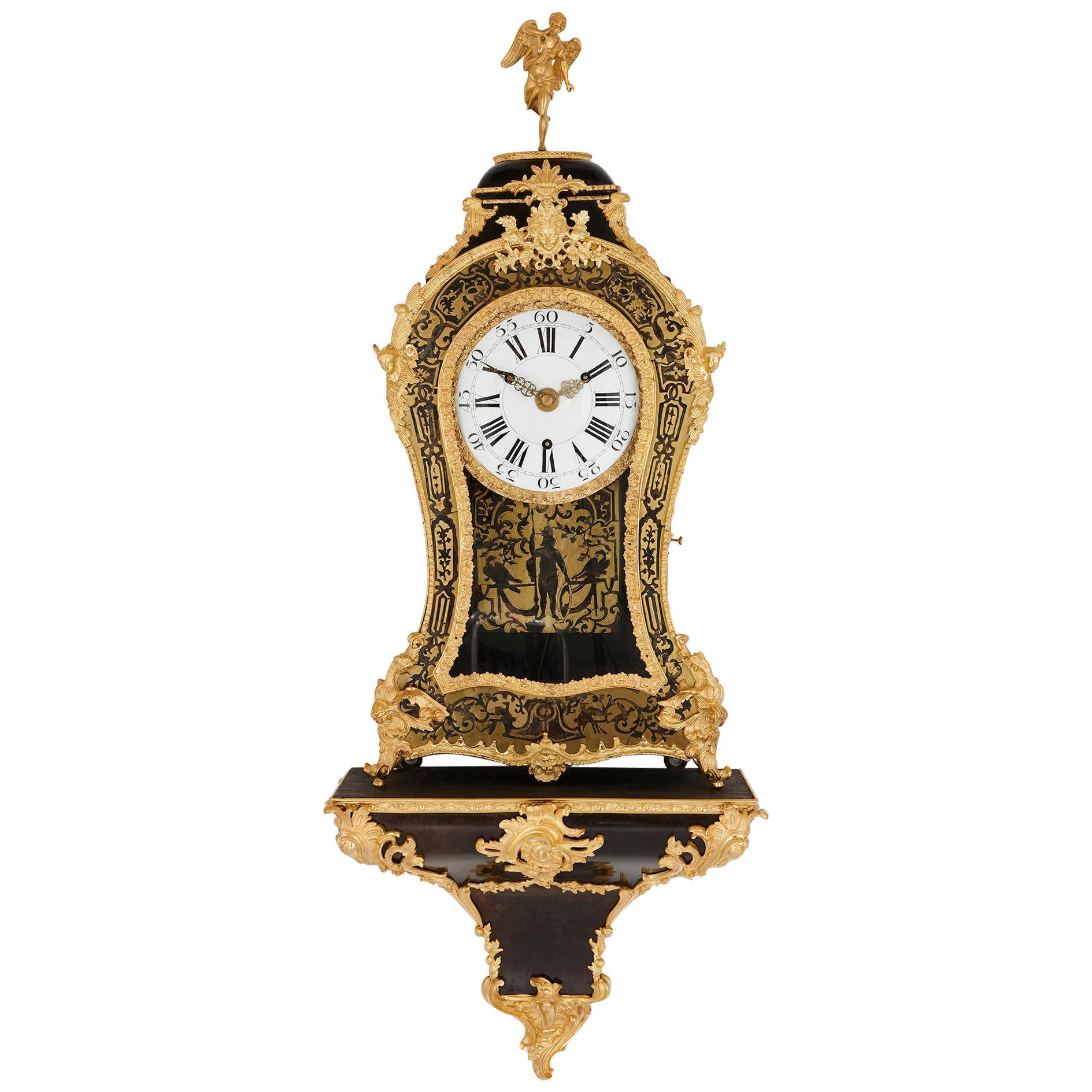 Large Gilt Bronze Boulle Wall Clock