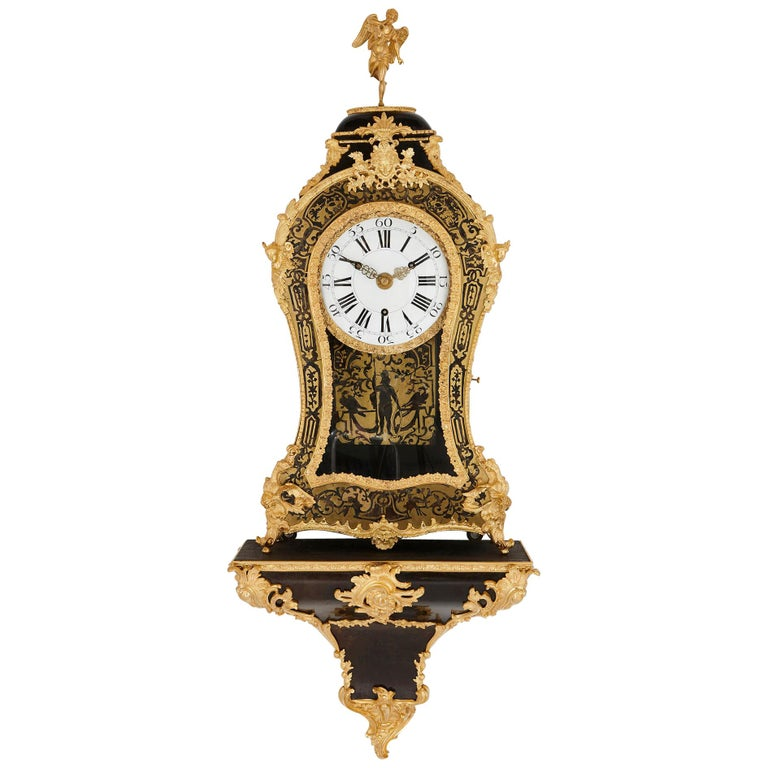 Large Gilt Bronze Boulle Wall Clock For Sale
