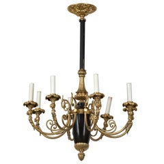 Large Gilt Bronze French Empire Chandelier