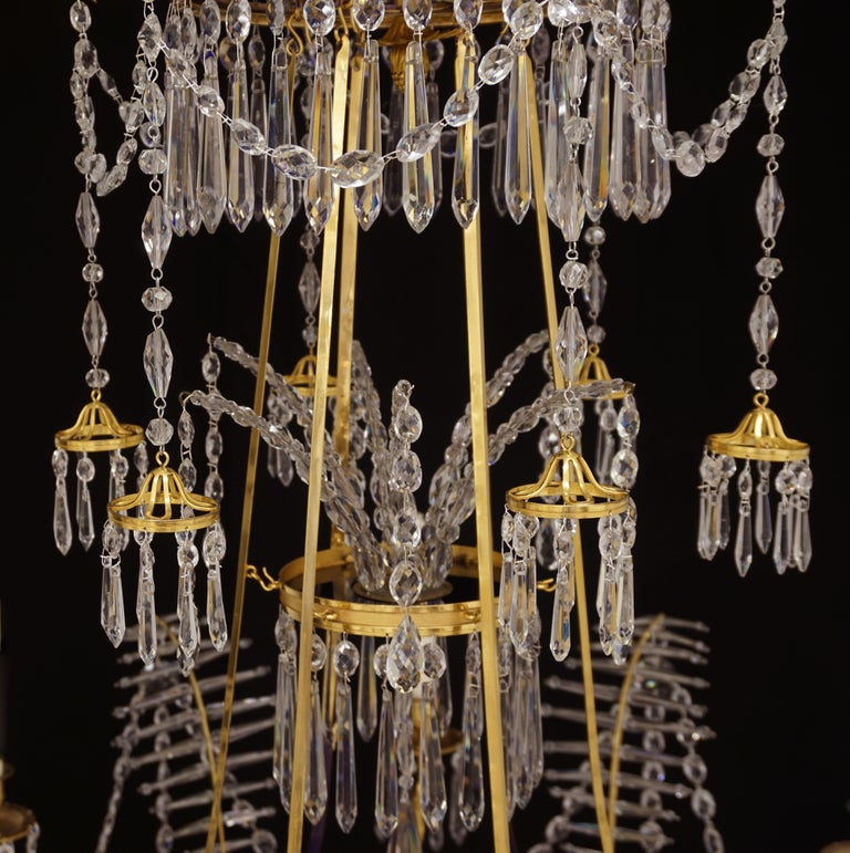 Large gilt bronze Louis XVI chandelier in the manner of Werner & Mieths Berlin