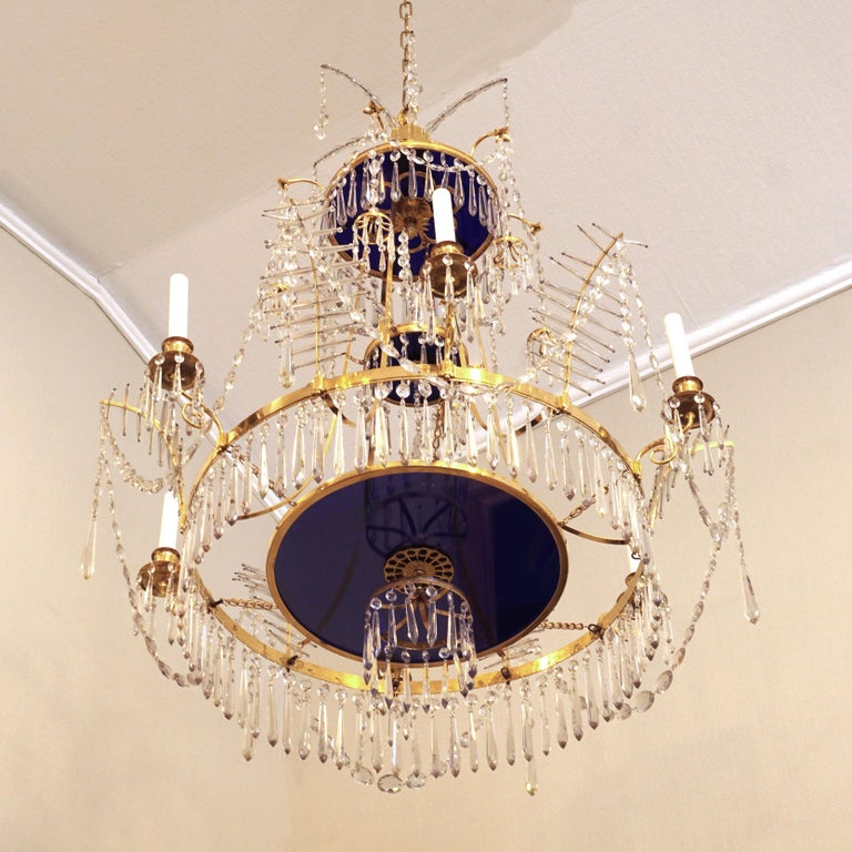 Large Gilt Bronze Louis XVI Chandelier in the Manner of Werner & Mieths Berlin For Sale 1