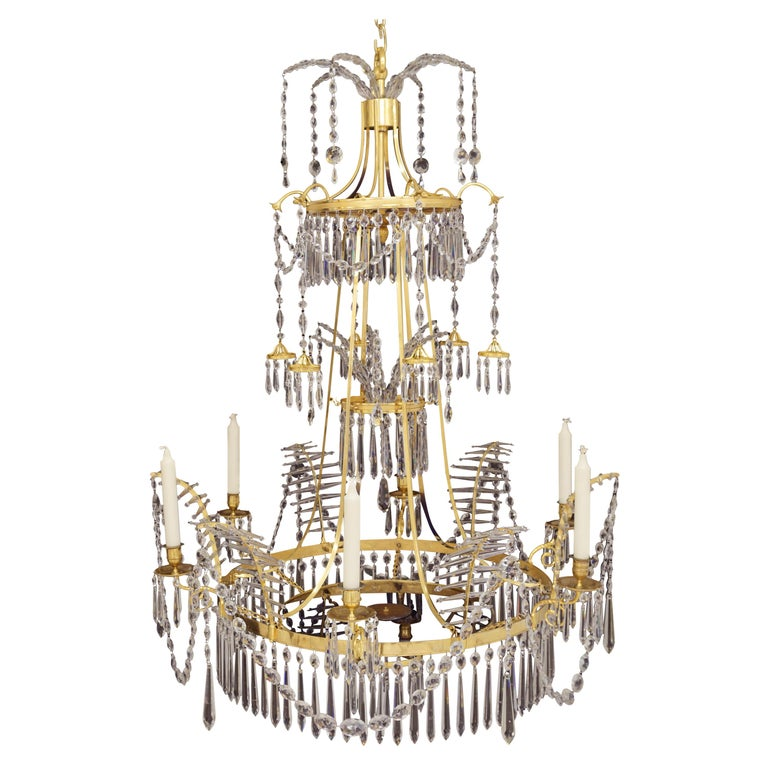 Large Gilt Bronze Louis XVI Chandelier in the Manner of Werner & Mieths Berlin For Sale