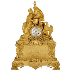 Large Gilt Bronze Mantel Clock Commemorating Napoleon