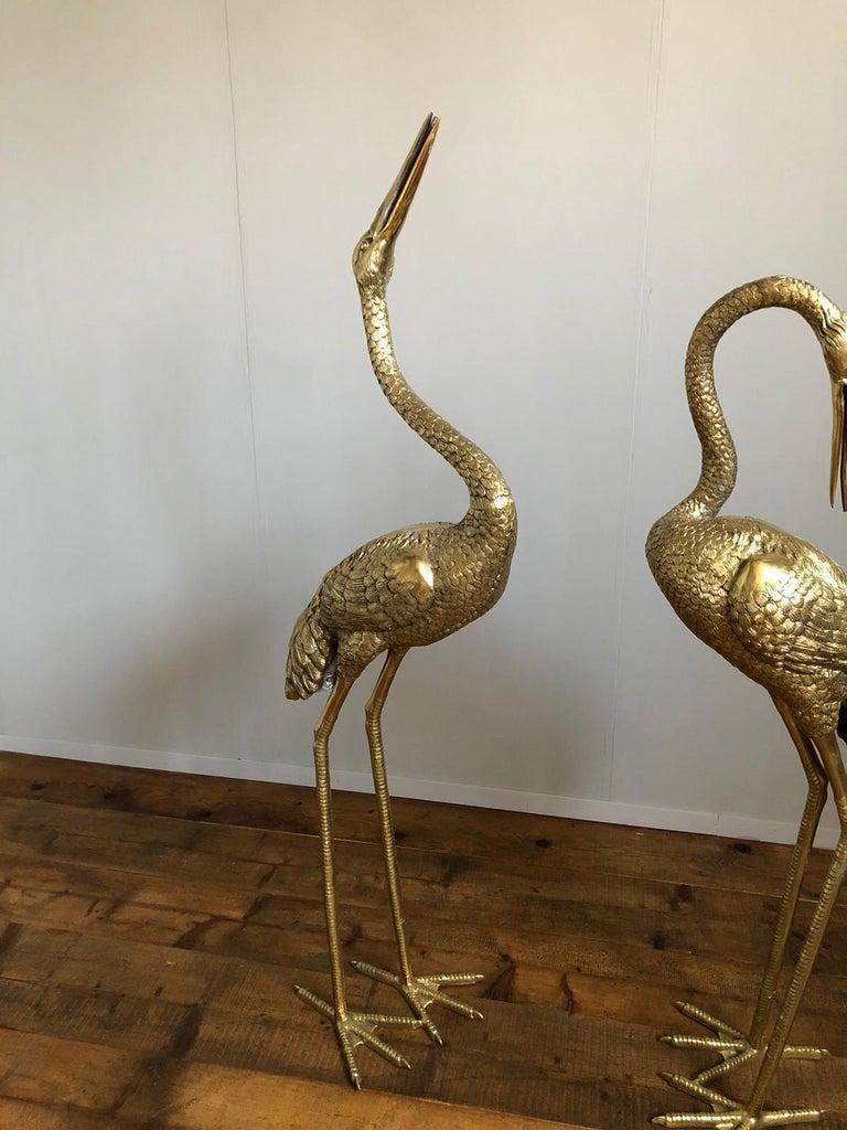 Modern Large Gilt Bronze Sculptures of Herons