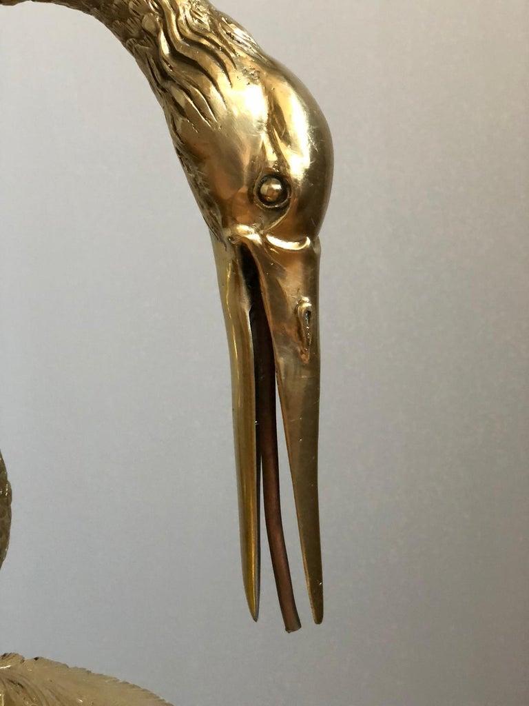 Large Gilt Bronze Sculptures of Herons 3