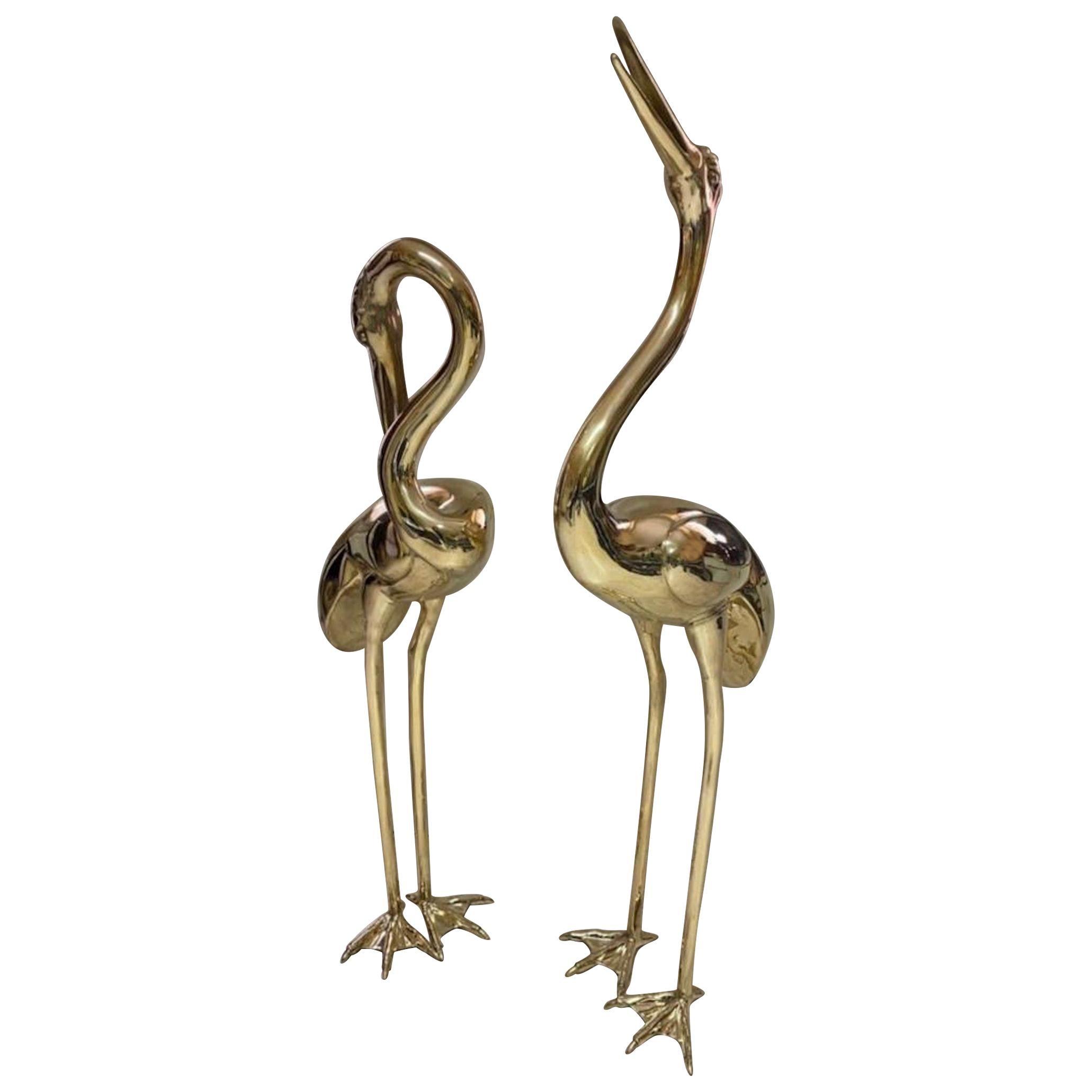 Large Gilt Bronze Sculptures of Herons