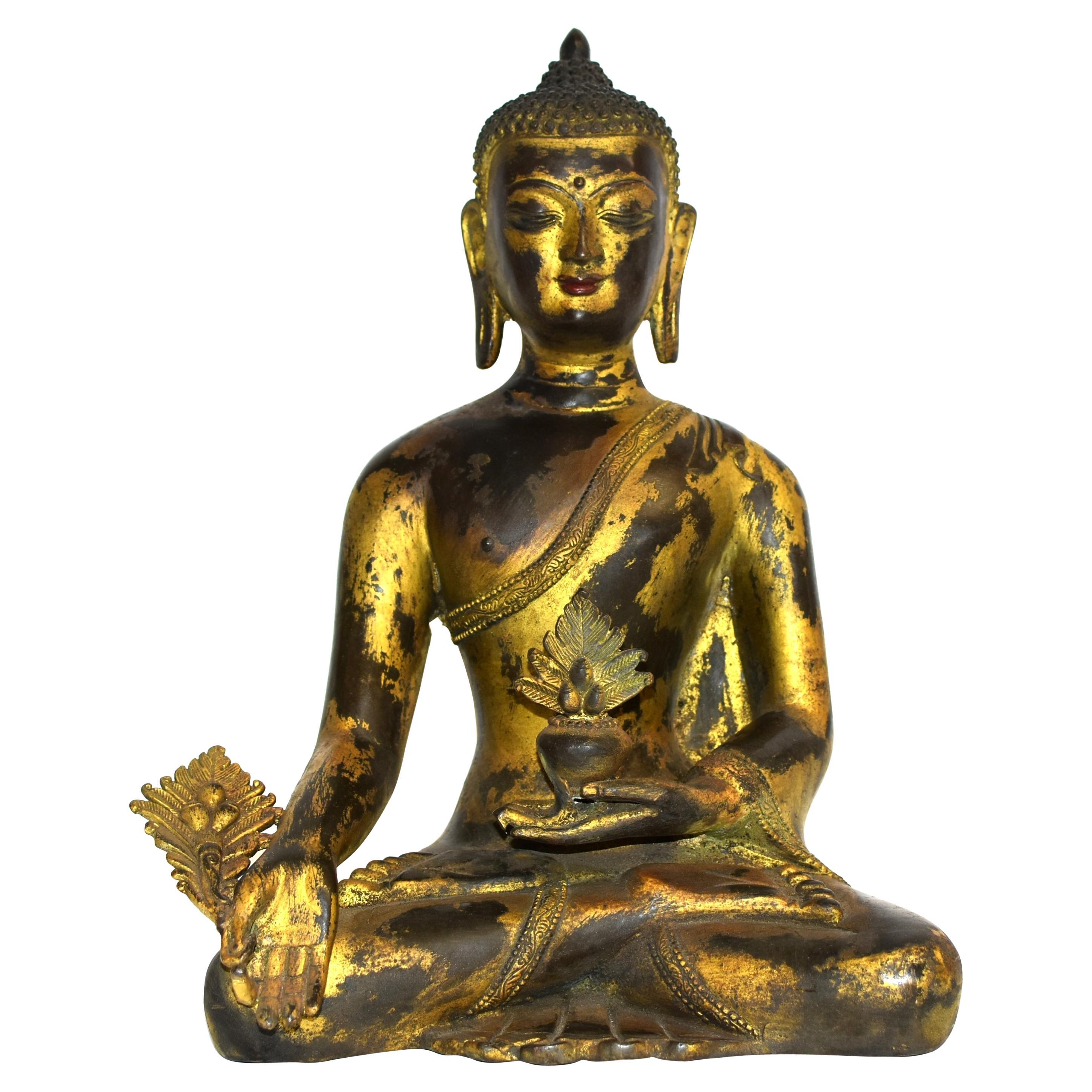 Large Gilt Bronze Tibetan Buddha