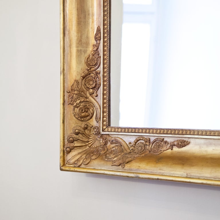 Large Gilt Empire Wall Mirror, First Half of the 19th Century In Good Condition For Sale In Greding, DE