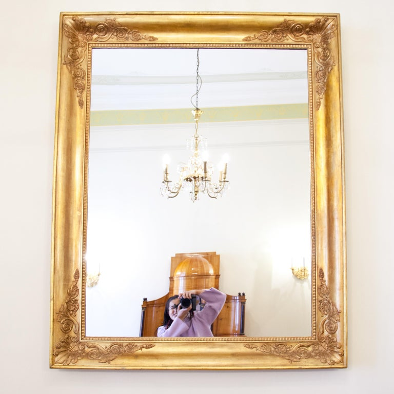 Large Gilt Empire Wall Mirror, First Half of the 19th Century For Sale 1