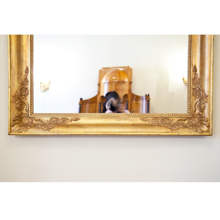 Large Gilt Empire Wall Mirror, First Half of the 19th Century For Sale 3