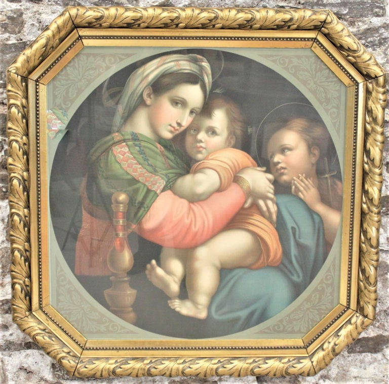 This very large chrome lithographed print is unsigned, but presumed to have originated from Italy in circa 1930 in a Renaissance Revival style. The lithograph depicts a rendition of the Adoration of the Magi and is matted with scrolled accents on