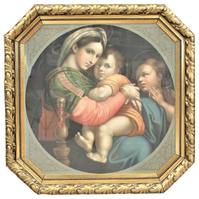 Large Gilt Framed Art Deco Era Chrome Lithograph of the Adoration of the Magi For Sale