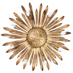 Large Gilt Iron Hollywood Regency Sunburst Ceiling Light Fixture, Spain 1960s