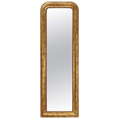 Large Gilt Louis Philippe Arch Top Wall or Floor Mirror (H 58 1/2 x W 19 1/2)