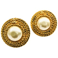 Large gilt metal and baroque pearl 'Double C' earrings, Chanel, 1980s