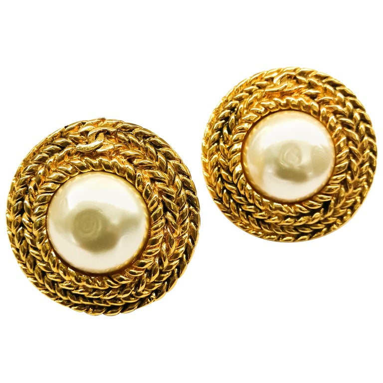 Large gilt metal and baroque pearl 'Double C' earrings, Chanel, 1980s For Sale
