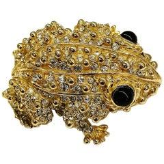 Large gilt metal and paste 'frog' brooch, Ciner, USA, 1980s