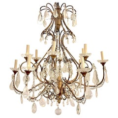 Large Gilt Metal and Rock Crystal Chandelier