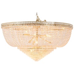 Large Gilt Metal French Neo-Classical Ceiling Light, 20th Century