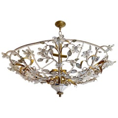 Large Gilt Metal Light Fixture with Molded Glass Leaves
