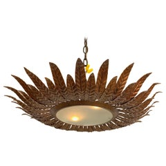 Large Gilt Metal Sunburst Ceiling Fixture with Double Layer Rays