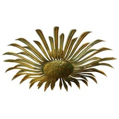 Large Gilt Metal Sunburst Light Fixture