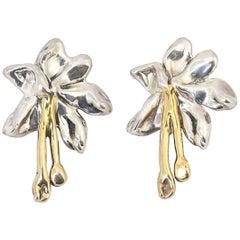 Large Gilt Sterling Silver Flower Clip on Earrings