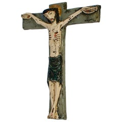 Large Gilt Wall Crucifix, Glazed Ceramic, Handmade, Belgium