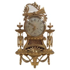 Large Giltwood Cartel Wall Clock by Gustav Becker