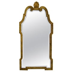 Large Gilt Wood Pier Mirror with Shell Pediment