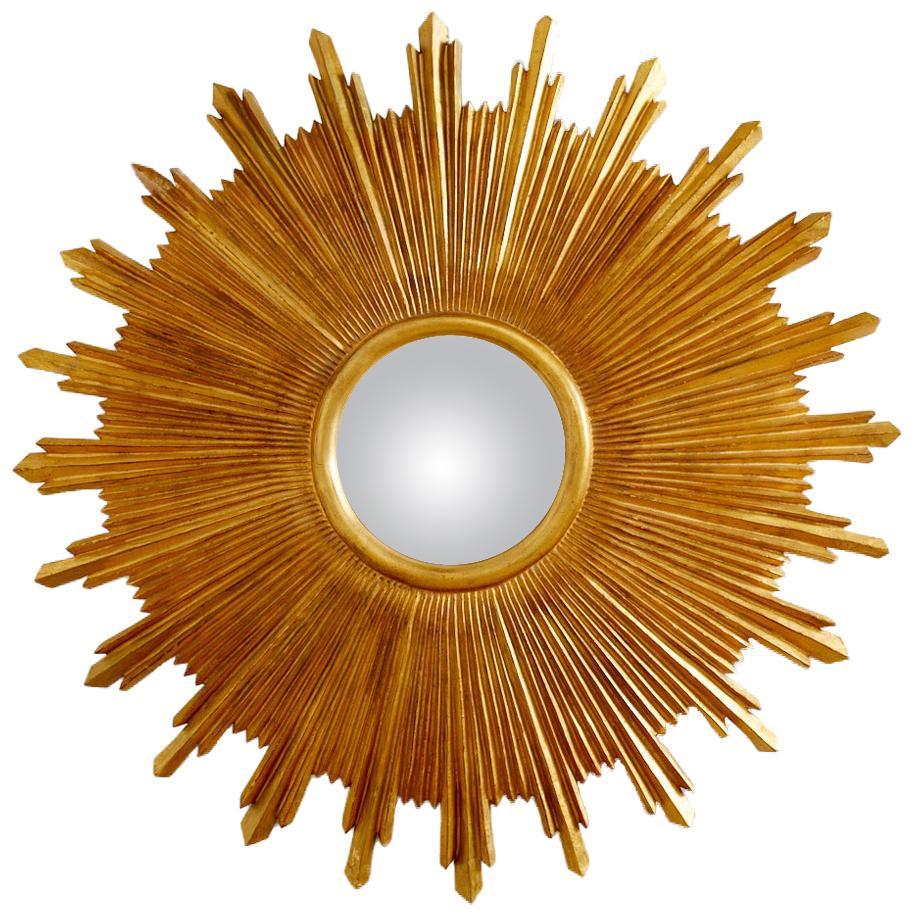 Large Giltwood Carved Convex Sunburst Mirror