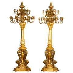 Large Giltwood and Gilt Bronze French Candelabra, circa 1870