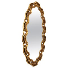 Large Giltwood Oval Carved Mirror by Francisco Hurtado