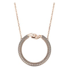 Large Give and Receive 18 Carat Rose Gold Pendant Pave Set with White Diamonds