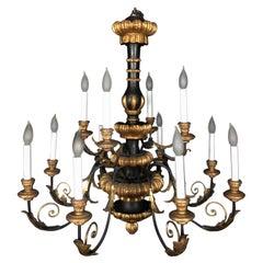 Large Glamorous Regency Style Italian Twelve Arm Black and Gold Chandelier