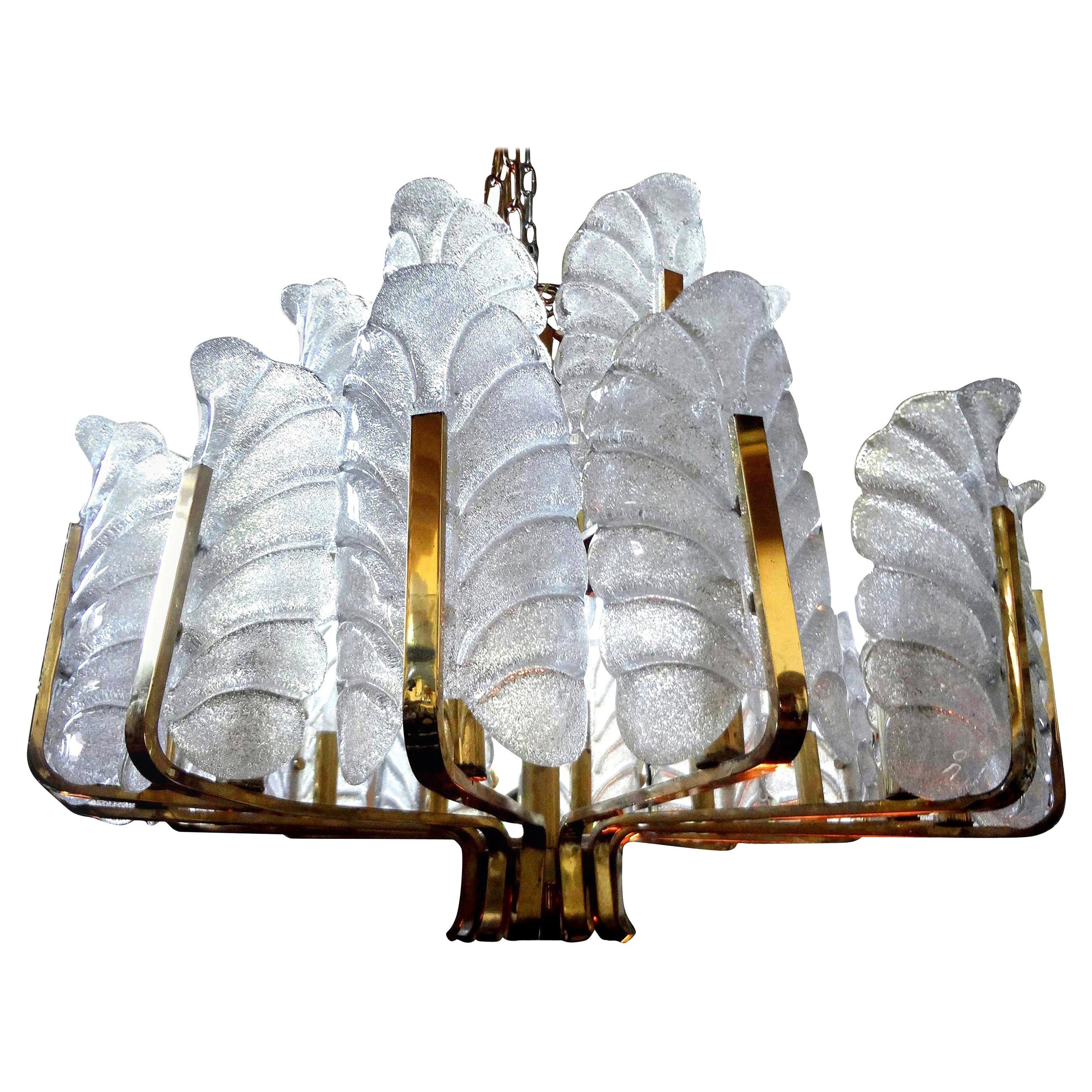 Large Glass and Brass Chandelier by Carl Fagerlund for Orrefors