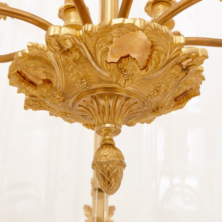 French Large Glass and Gilt Bronze Hanging Hall Lantern For Sale