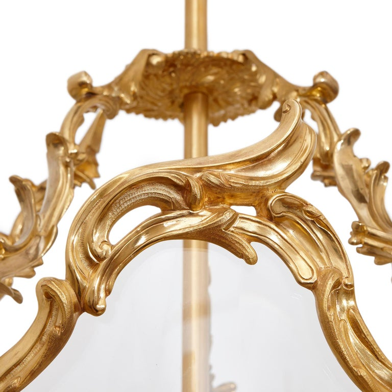 20th Century Large Glass and Gilt Bronze Hanging Hall Lantern For Sale