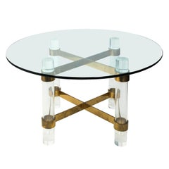Large Glass and Lucite Dining Table with Brass Cross Stretcher