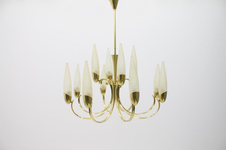 Large Glass and Brass Chandelier, 1950s For Sale 2
